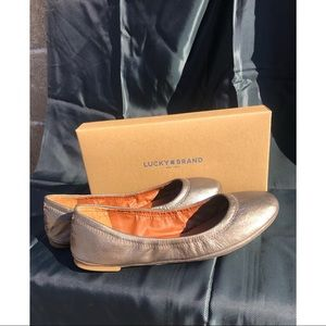 Lucky Brand Gold Leather Emmie Flats New with Box